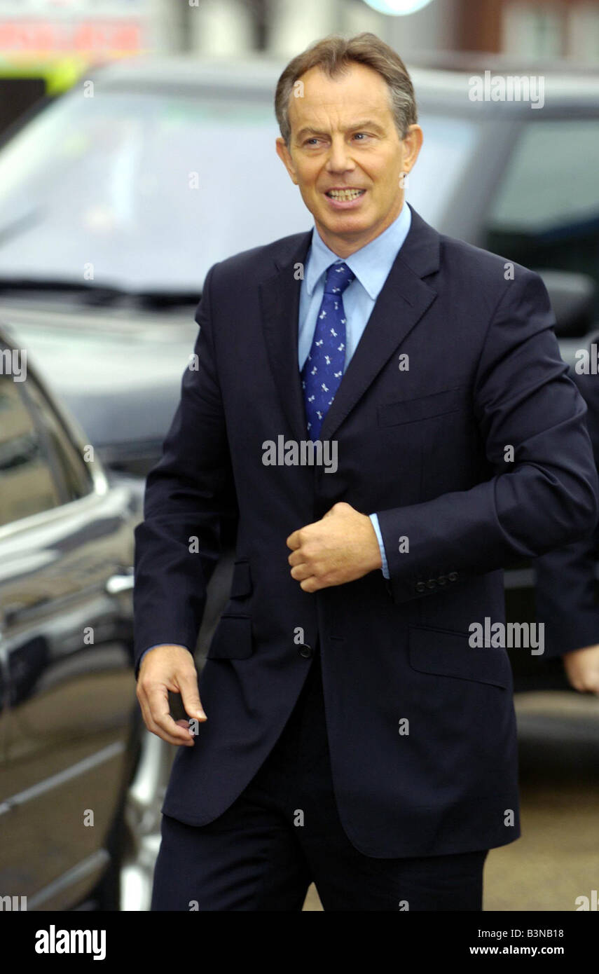 Labour Party Conference September 2004 Tony Blair arriving at St Peters Church in the morning - Stock Image