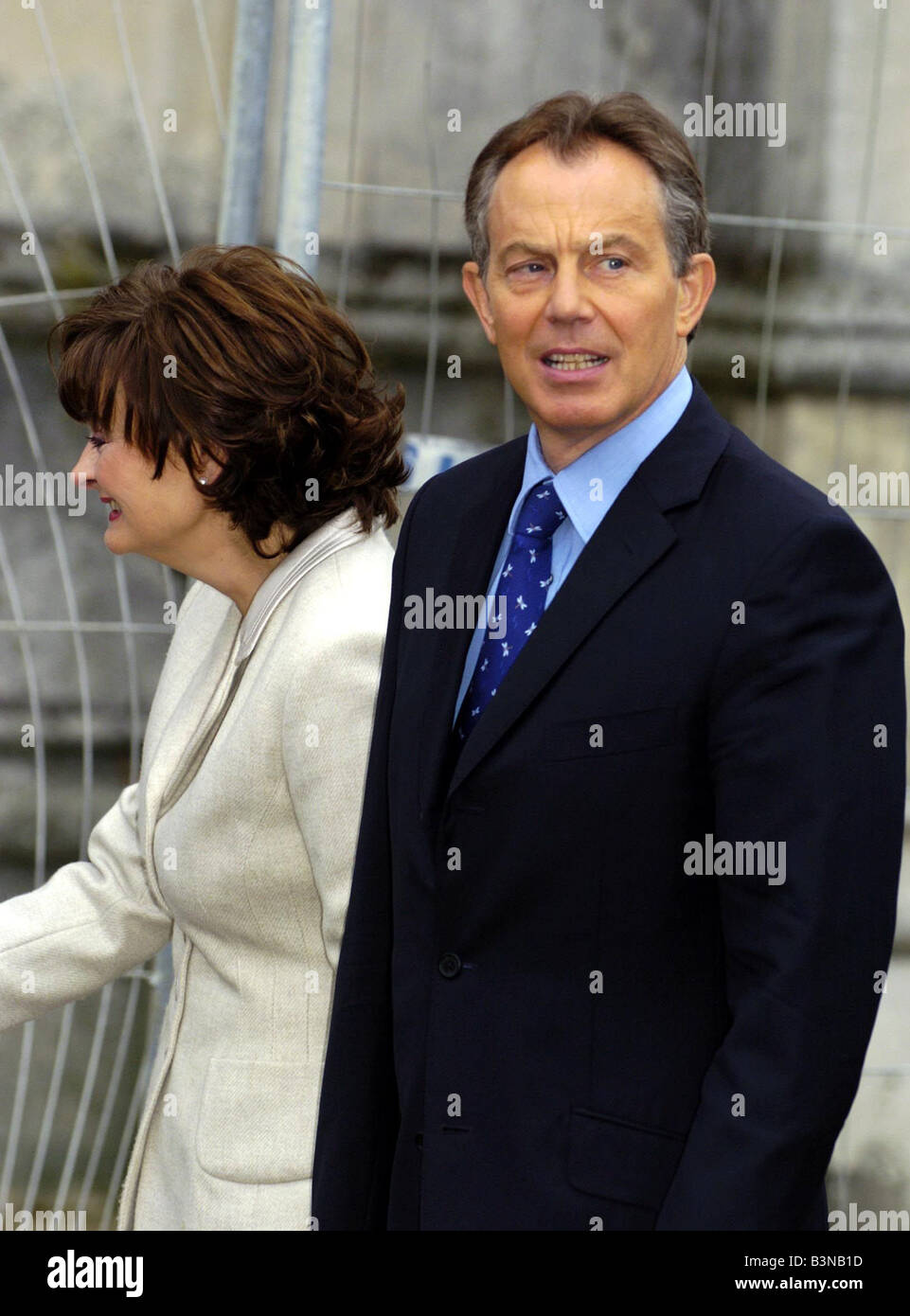 Labour Party Conference September 2004 Tony Blair arriving at St Peters Church in the morning with wife Cherie Blair - Stock Image