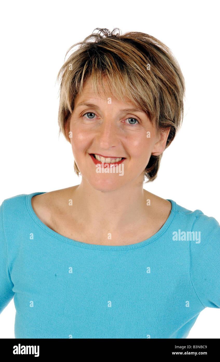 Kaye Adams TV Presenter turquoise top mirrorpix - Stock Image