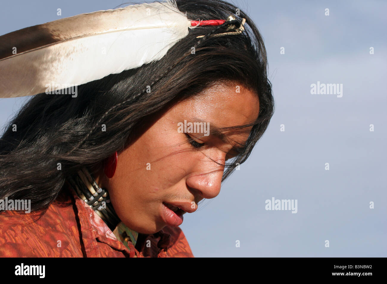 A Native American Indian in South Dakota with a eagle feather in his hair Stock Photo