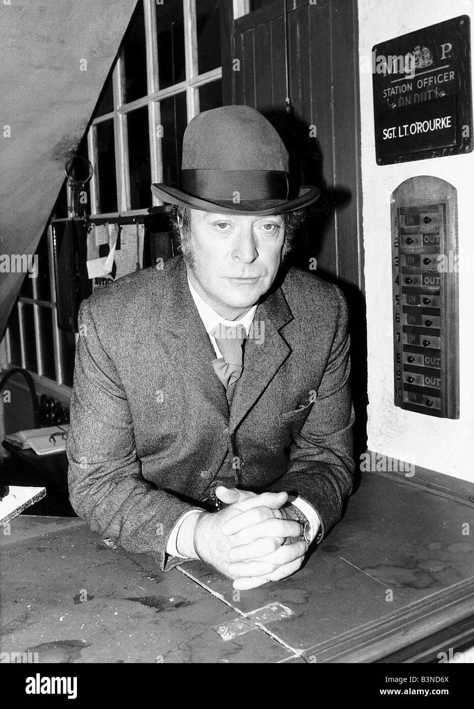 Michael Caine March 1988 Actor in Thames TV Docudrama Jack the Ripper playing the character Detective Inspector - Stock Image