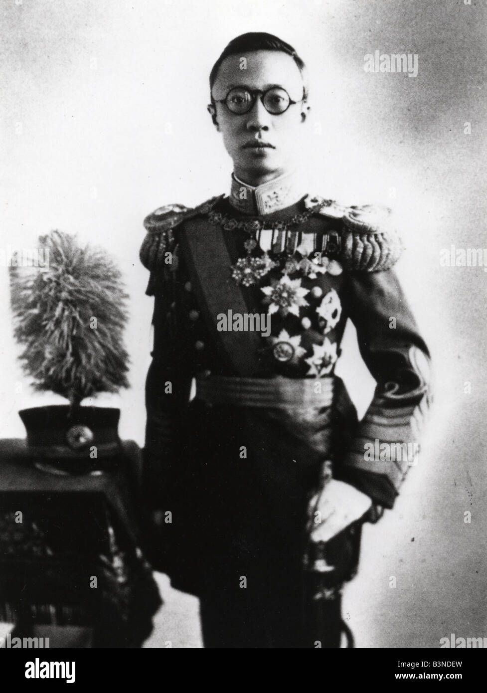 EMPEROR PU YI reigned as the last Emperor of China from 1908 to 1912 and died in 1967. See Description below for - Stock Image