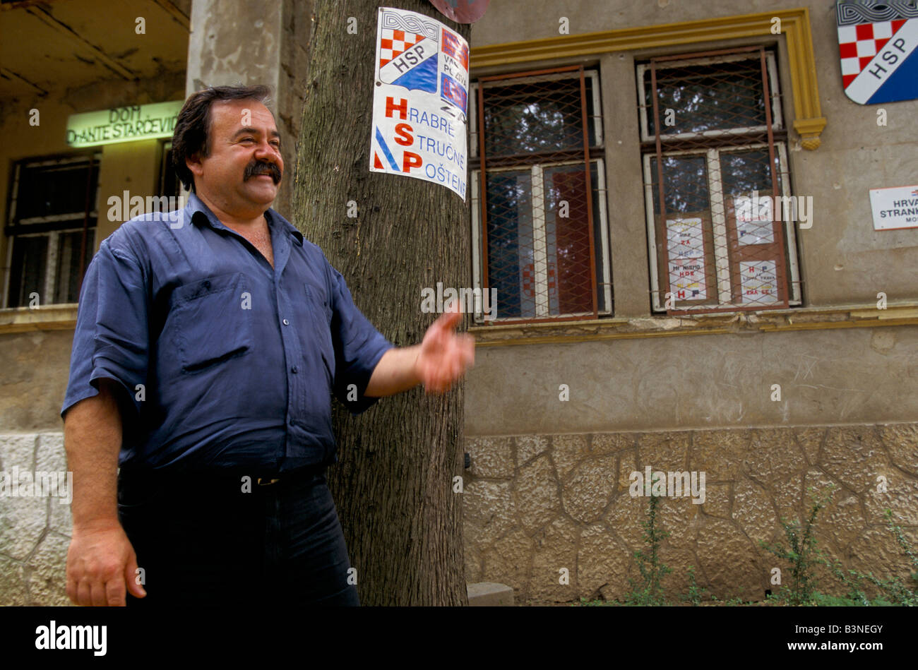 Mostar, june 1996', professor miljenko, president of the hsp, the croatian party of the right, 1996 - Stock Image