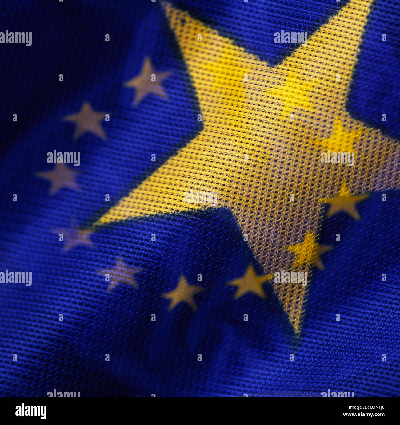 european flag, double exposure, hole flag single star - Stock Image