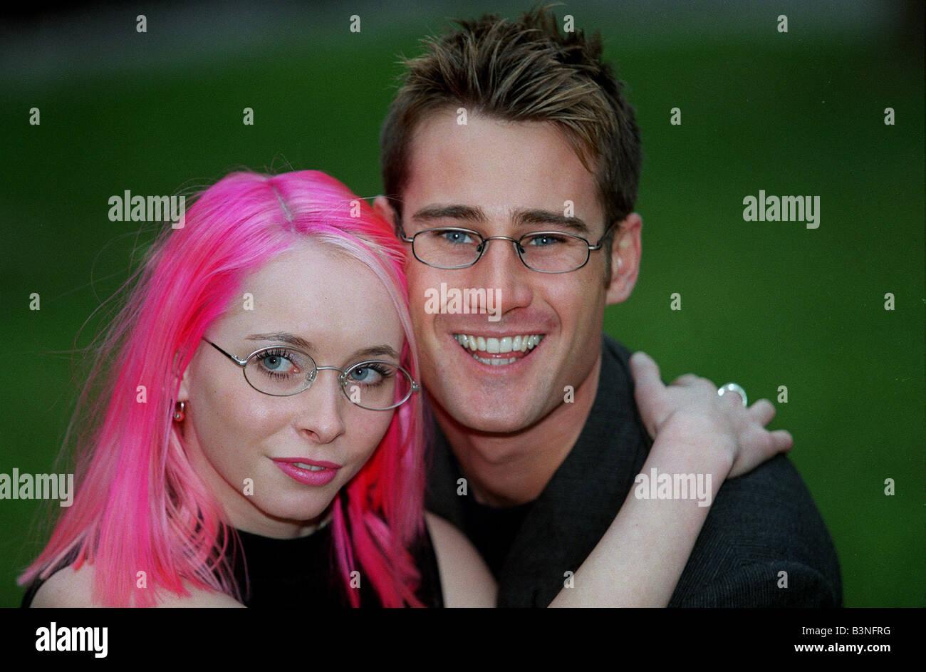 Tim Vincent TV Presenter December 1998 With Karen Mathers chosen as Specsavers Opticians sexiest specs wearer for - Stock Image