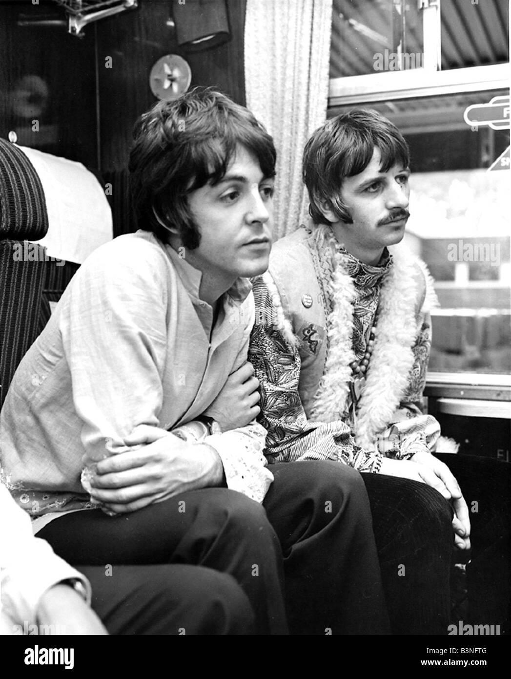 Paul McCartney Ringo Starr During Train Journey With Maharishi Mahesh Yogi The Beatles Inside Carriage August 1967 1960s