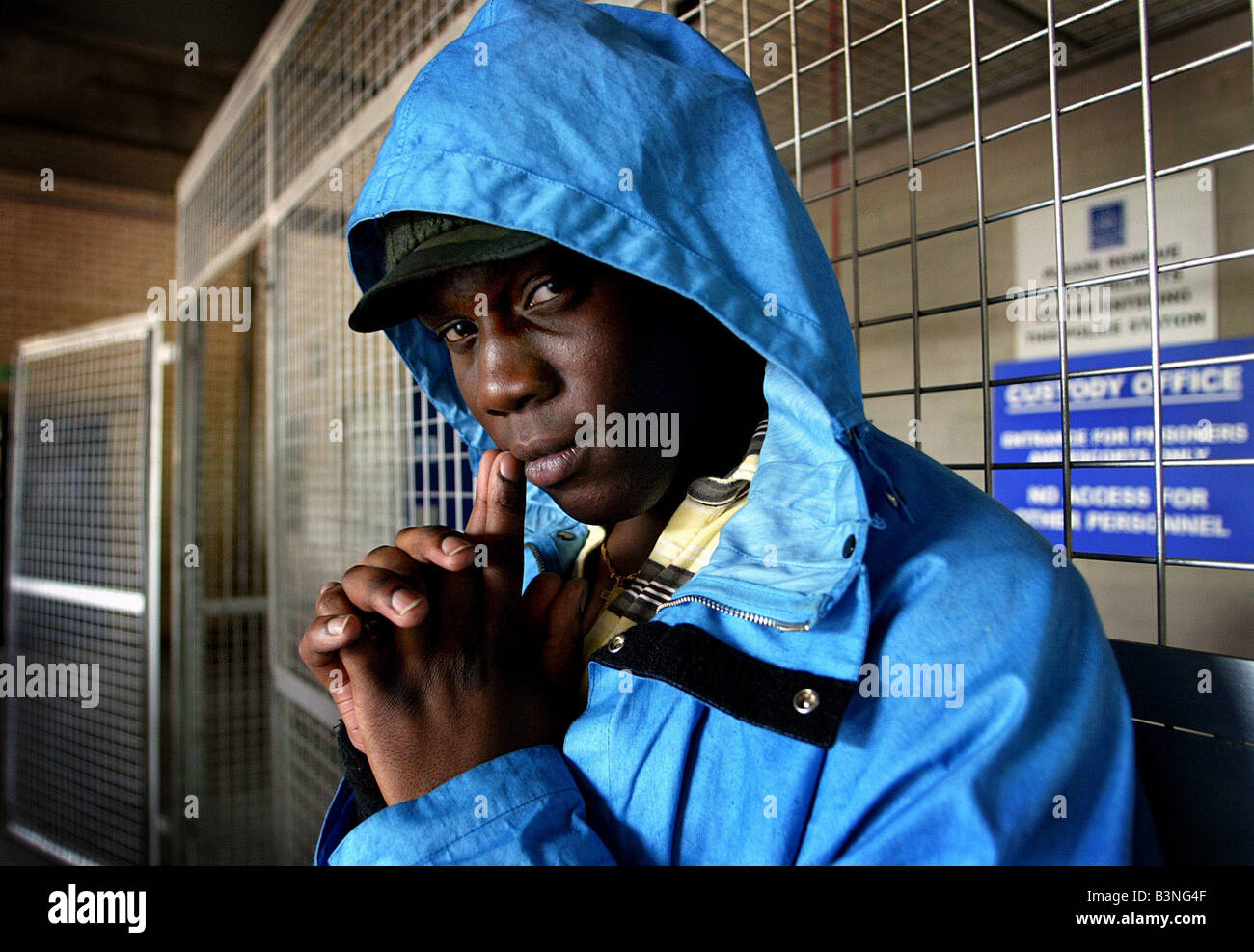 Actor Ofo Uhiara on the set of the Bill at Thames TV studios - Stock Image