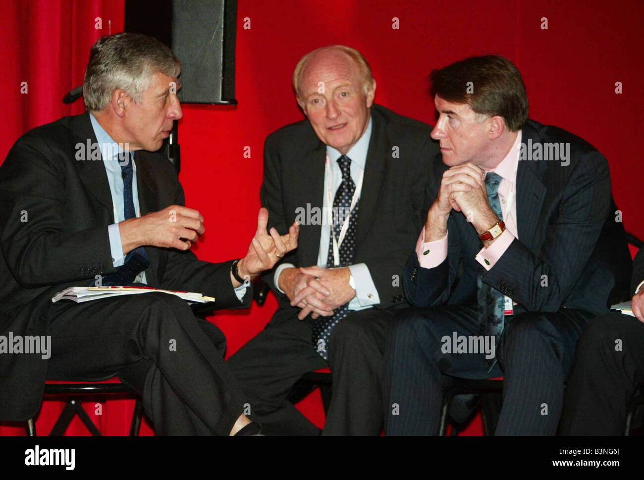 Labour Conference Jack Straw Peter Mandelson and Neil Kinnock September 2004 - Stock Image