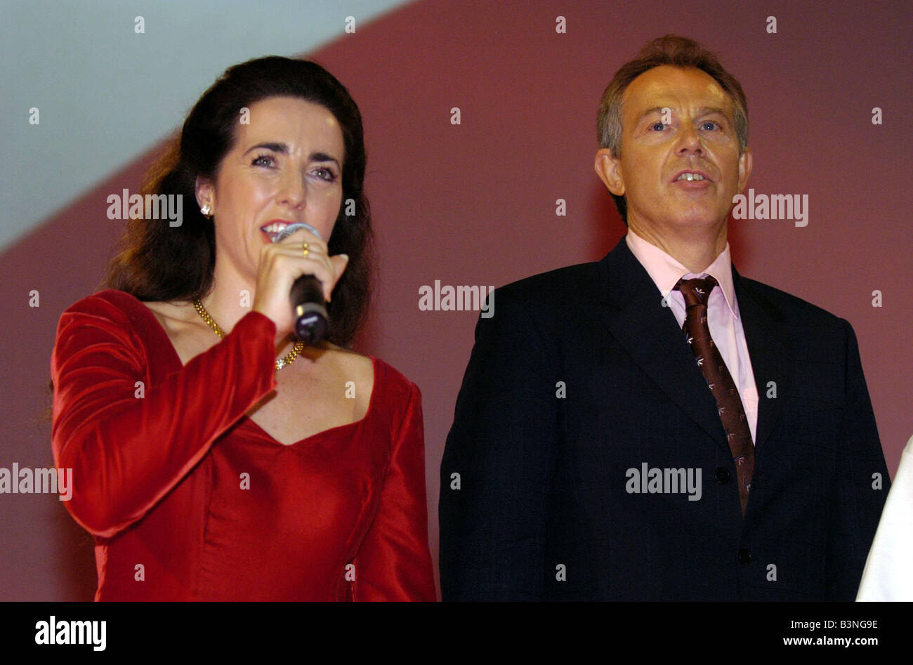 Labour Party conference September 2004 Tony Blair singing - Stock Image