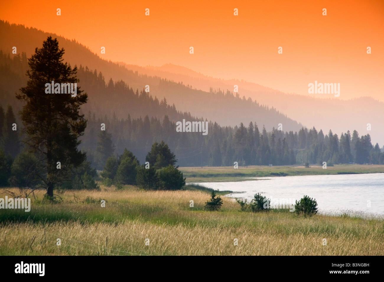 Sunset at Cascade Lake in Valley County Idaho Stock Photo