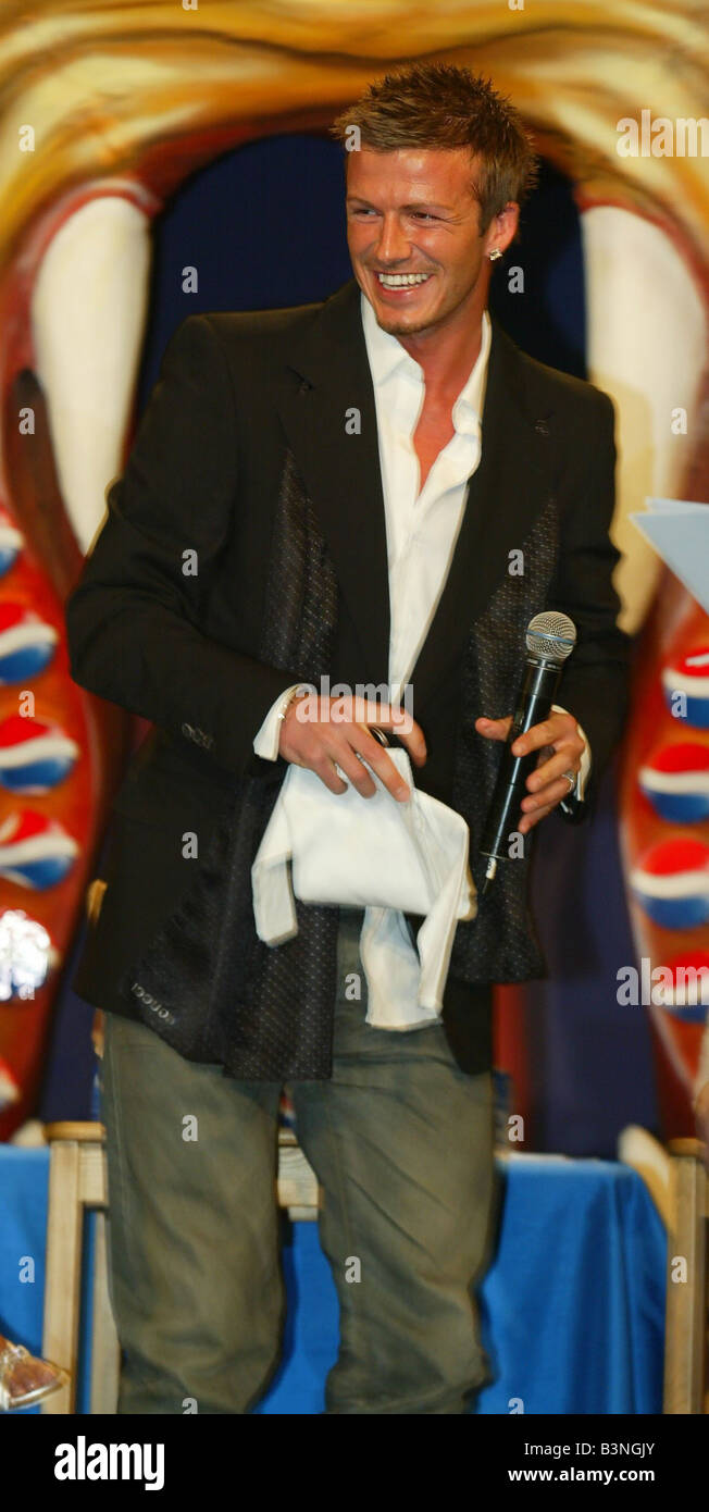 b0708e071a1 David Beckham receives a baby gift for new son Cruz at the launch of the new