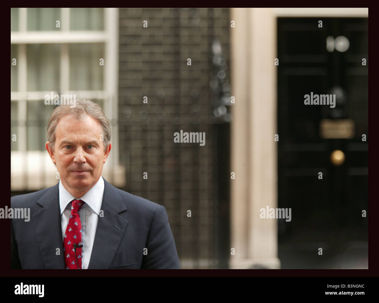 Prime Minister Tony Blair arrives at Downing Street today after meeting with the Queen at Buckingham palace March - Stock Image
