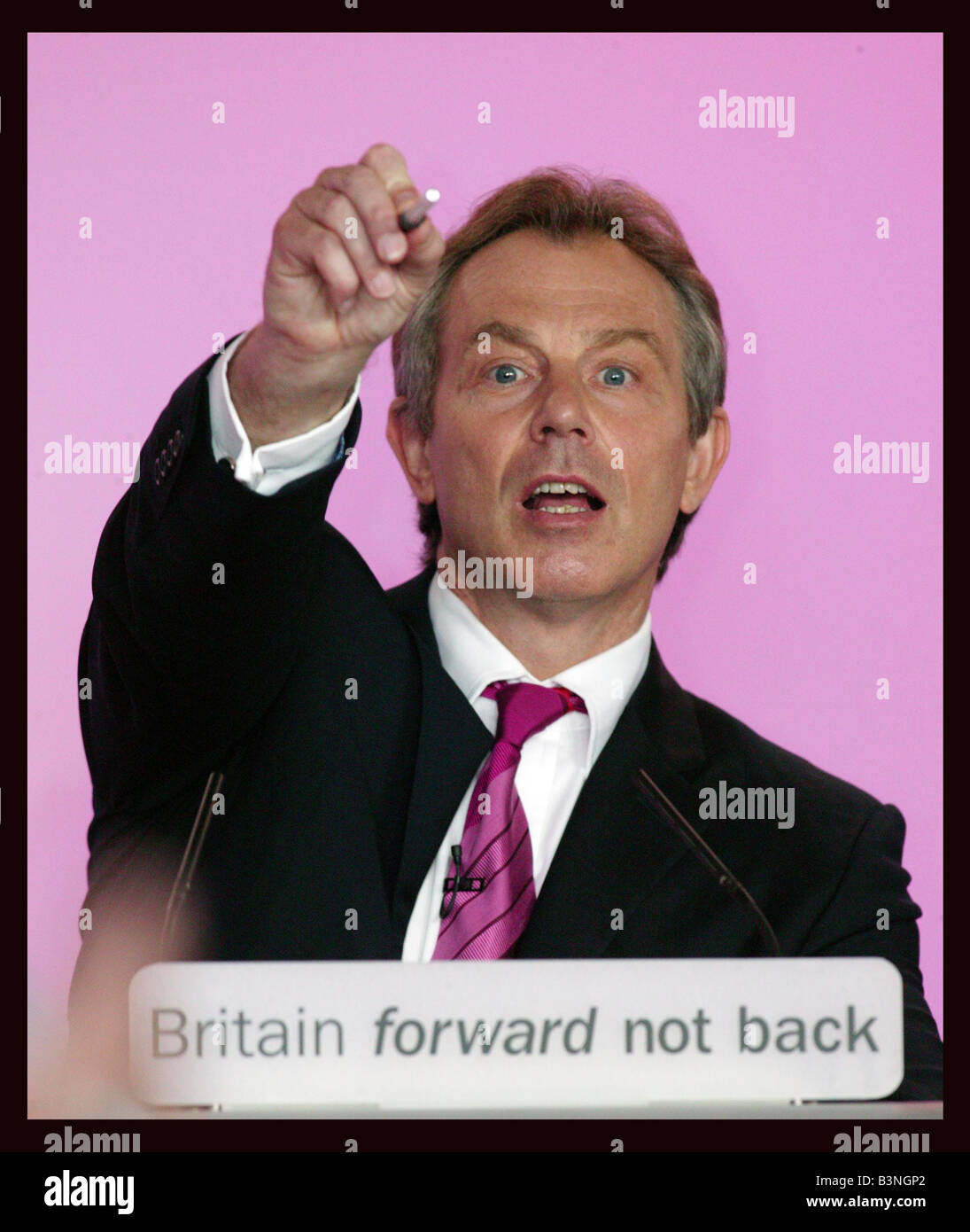 UK Prime Minister Tony Blair started campaigning for a third term today focusing on his eight year record in office - Stock Image