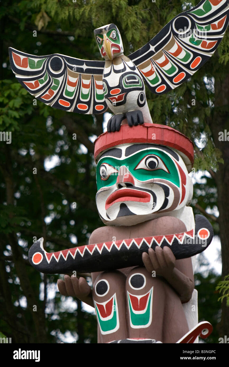Totem pole located in Stanley Park at Vancouver British Columbia Canada - Stock Image