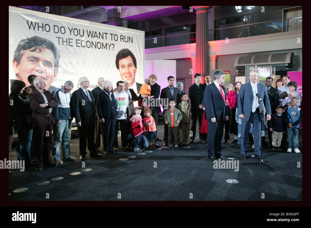 Old Billingsgate Market London At a poster launch this morning the Prime Minister Tony Blair contrasted Labour s - Stock Image