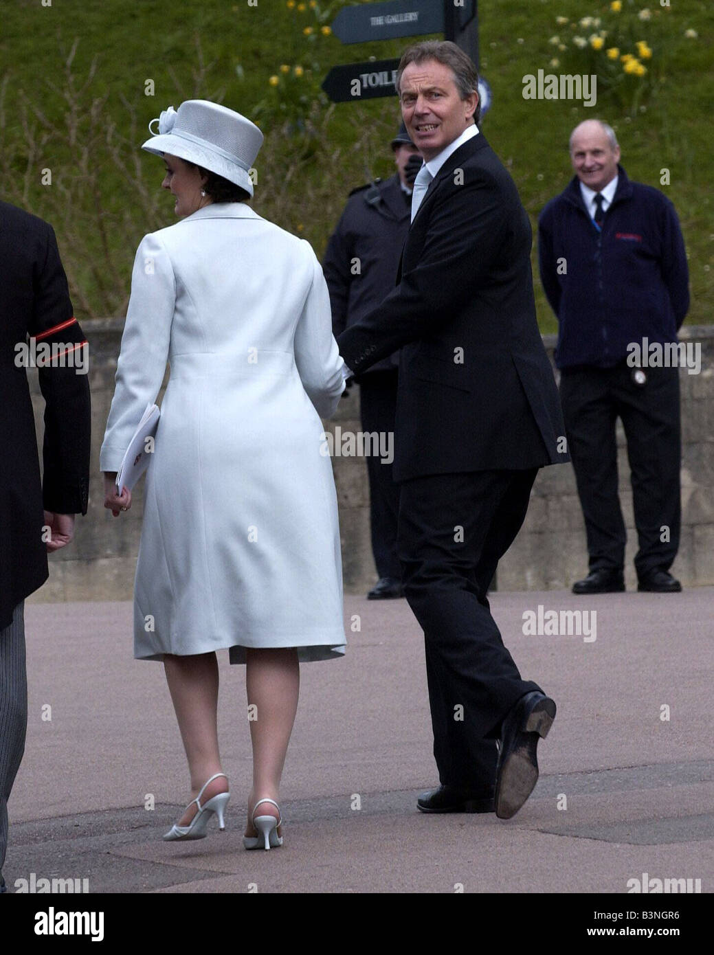 Prime Minister Tony Blair with wife Cherie Blair April 2005 - Stock Image