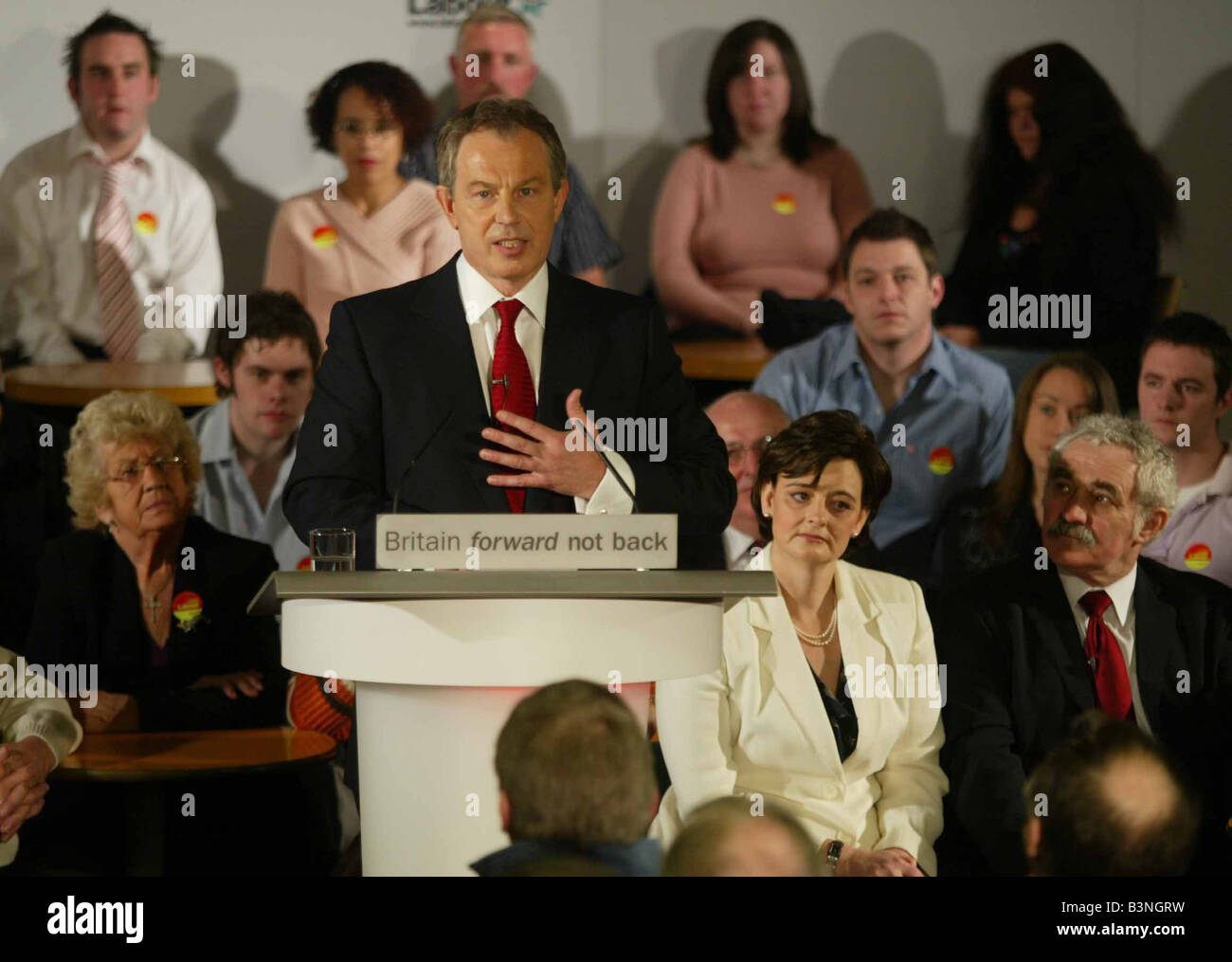 Tony Blair Prime Minister attending an adoption meeting of the Sedgfield Labour Party to elect him as the candidate Stock Photo