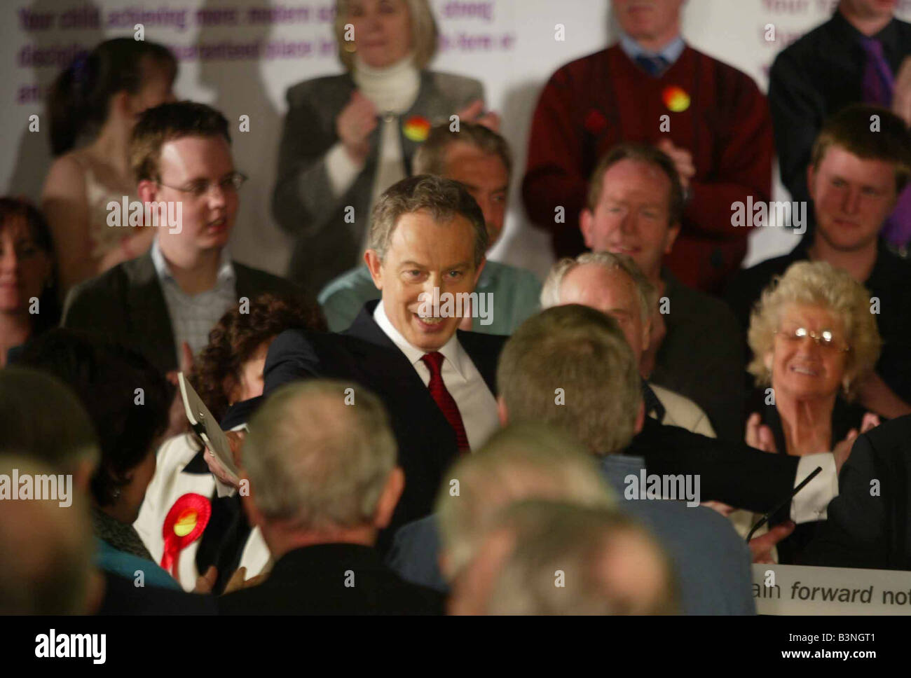 Tony Blair Prime Minister attending an adoption meeting of the Sedgfield Labour Party to elect him as the candidate - Stock Image