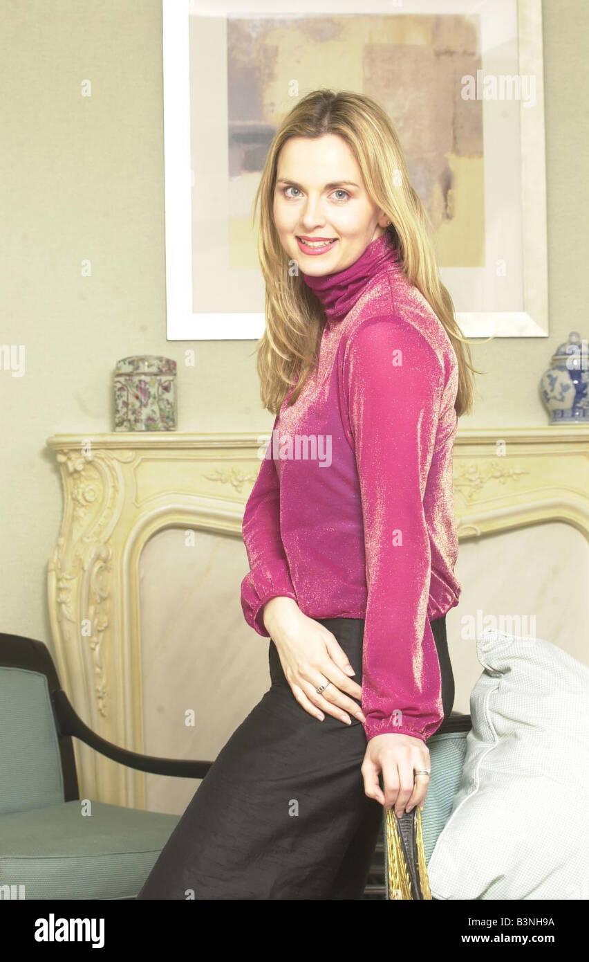 Actress Deborah Stevenson March 2001 at the Hilton Hotel Park Pane London - Stock Image