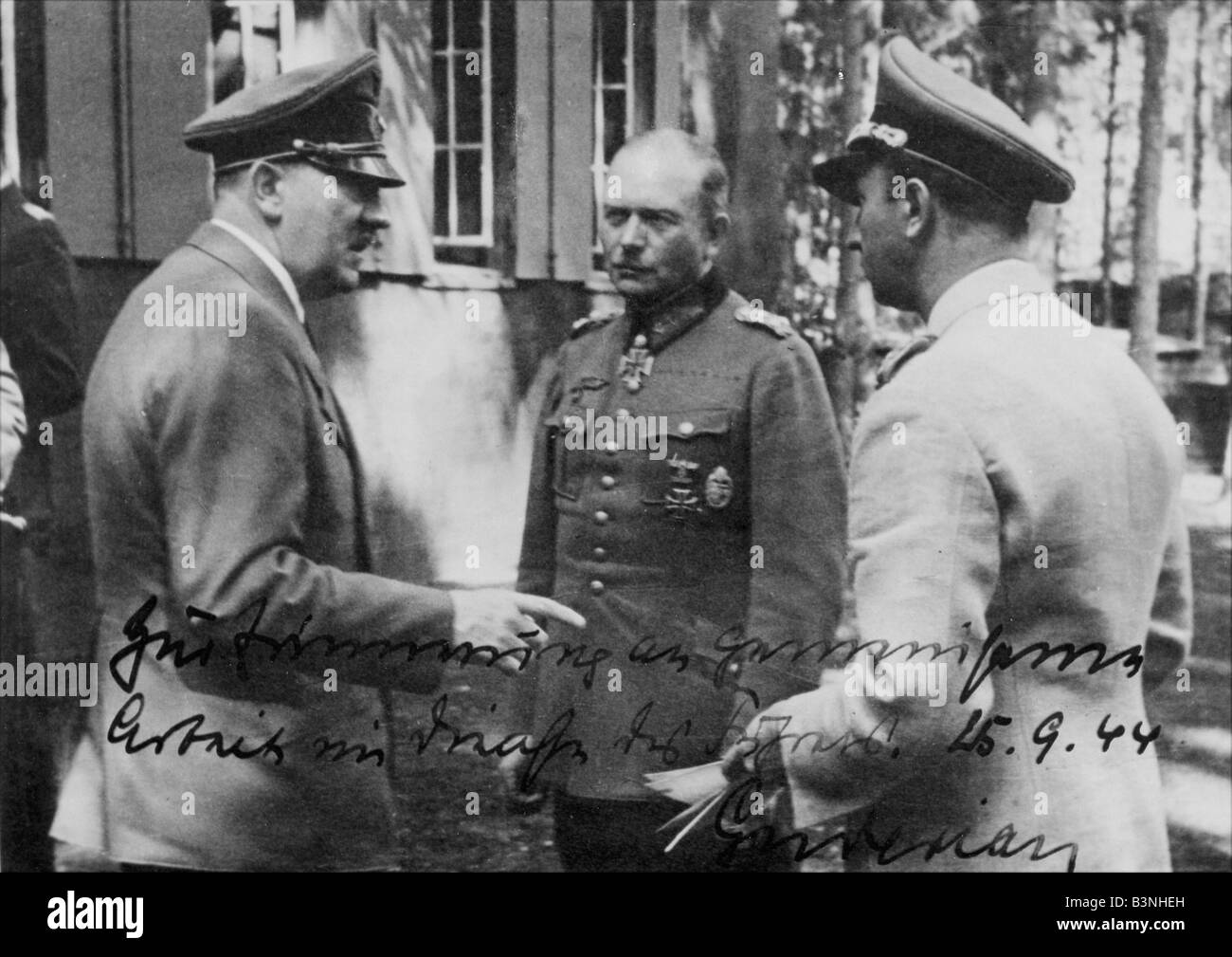 ADOLF HITLER at the Wolf's Lair the Eastern Front military HQ. This was the location of the failed 20 July assassination - Stock Image
