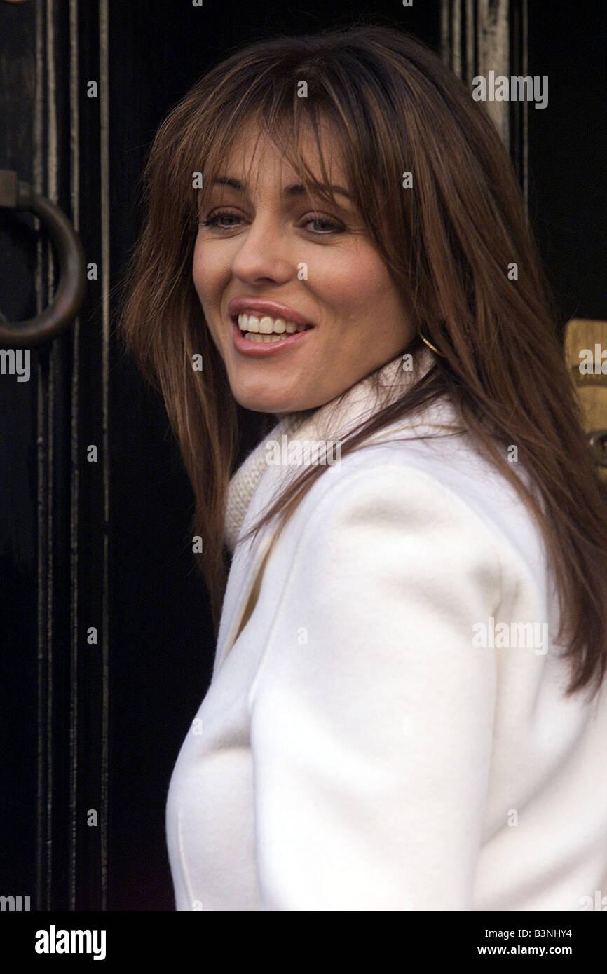 Liz Hurley leaving her home in Chelsea London November 2001 - Stock Image