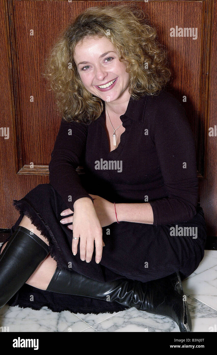 TV actress Julia Sawalha January 2002 Pictured in London wearing knee high boots - Stock Image