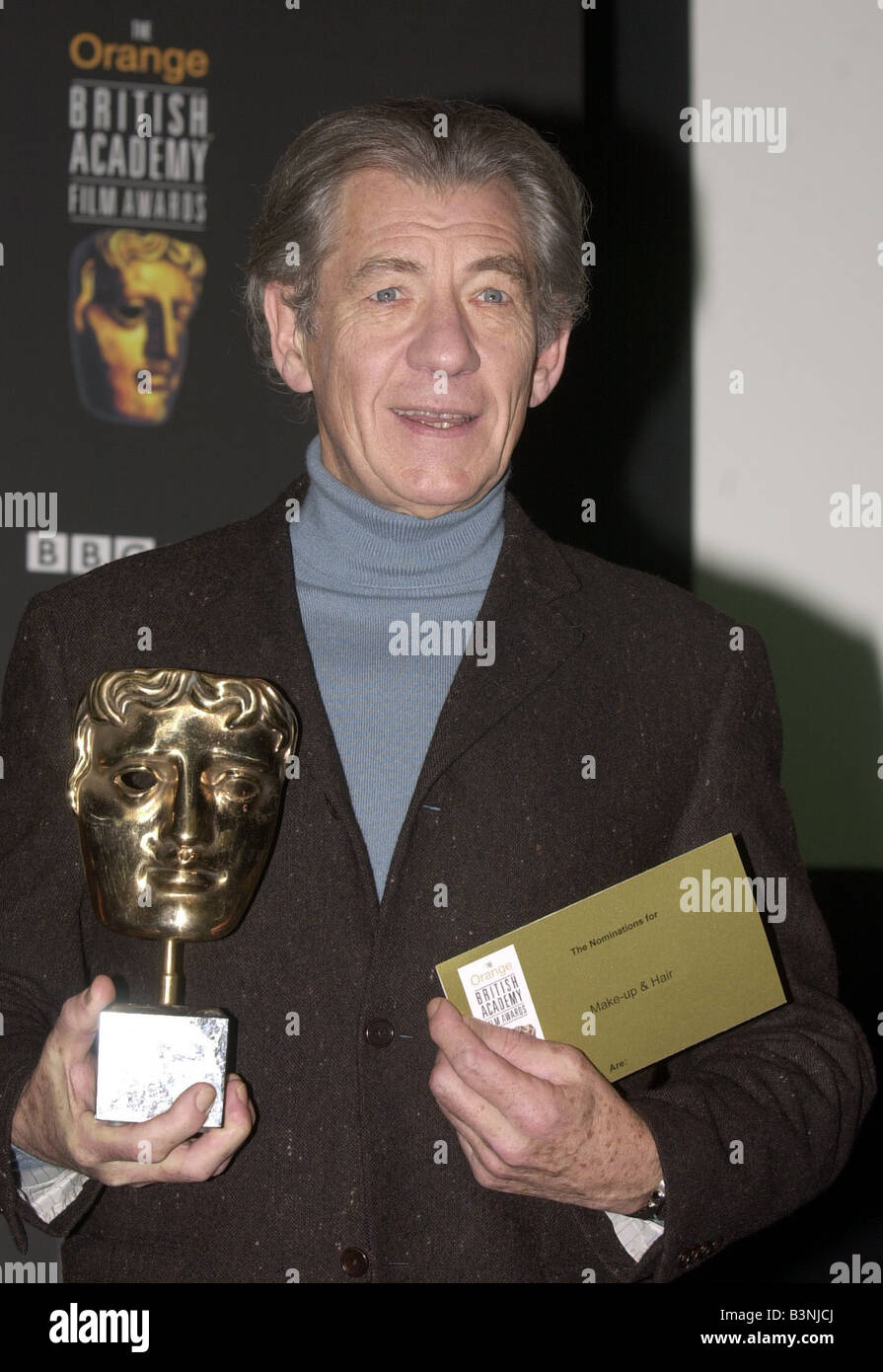 Sir Ian McKellen January 2003 Pictured at BAFTA HQ in Piccadilly London to announce Bafta shortlist nominations - Stock Image