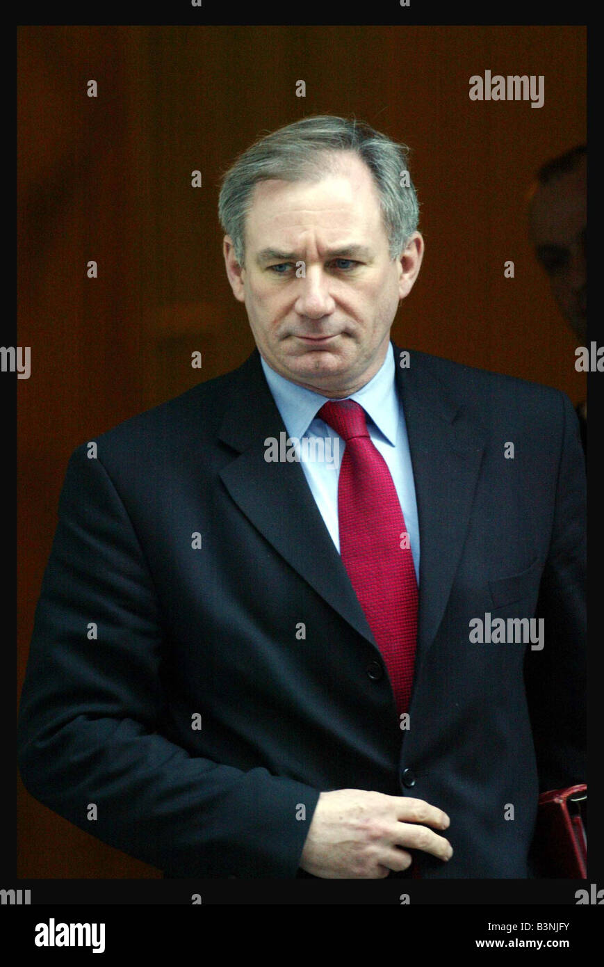 Geoff Hoon leaving 10 Downing Street January 2004 after a Cabinet meeting regarding the Hutton report - Stock Image