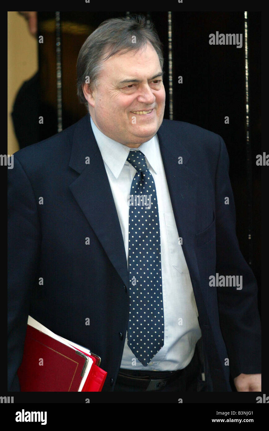 John Prescott leaving 10 Downing Street January 2004 after a Cabinet meeting regarding the Hutton report - Stock Image