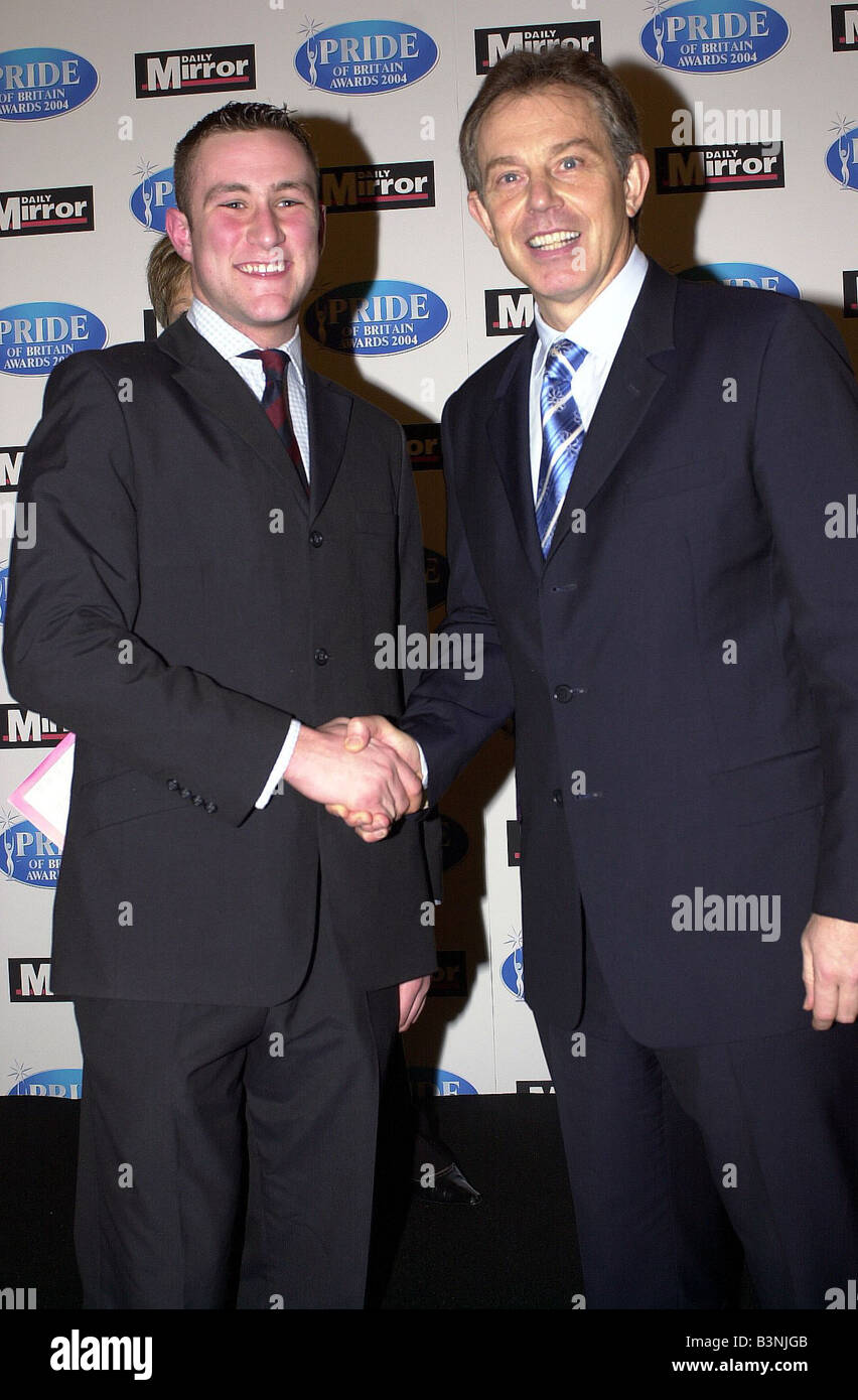 Pride Of Britain Awards March 2004 at the Hilton Hotel Youngest VC medal winner and Tony Blair - Stock Image