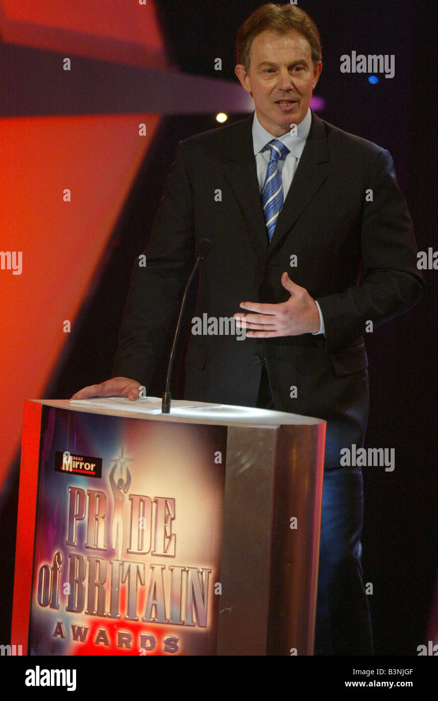 Tony Blair speaks at the Daily Mirror Pride Of Britain Awards 15th March 2004 at the Hilton Hotel Park Lane London - Stock Image