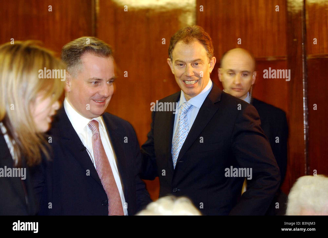 Tony Blair Prime Minister with Jack McConnell at the Merkinch Community Centre in Inverness Scotland February 2004 - Stock Image