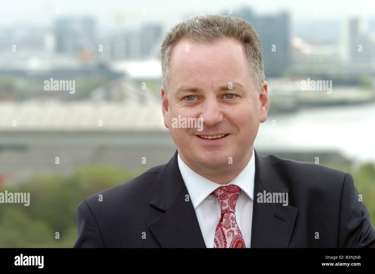 First Minister Jack McConnell May 2005 at the New Clyde Port Luxury flats in Glasgow - Stock Image