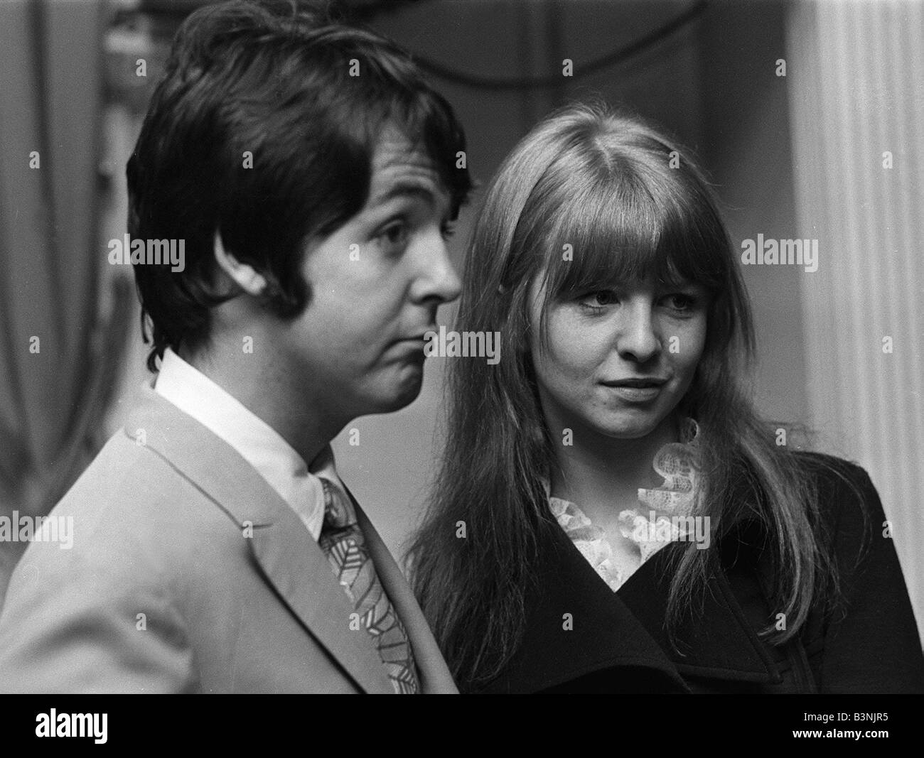 Paul McCartney Of The Pop Group Beatles With Girlfriend Jane Asher January 1968