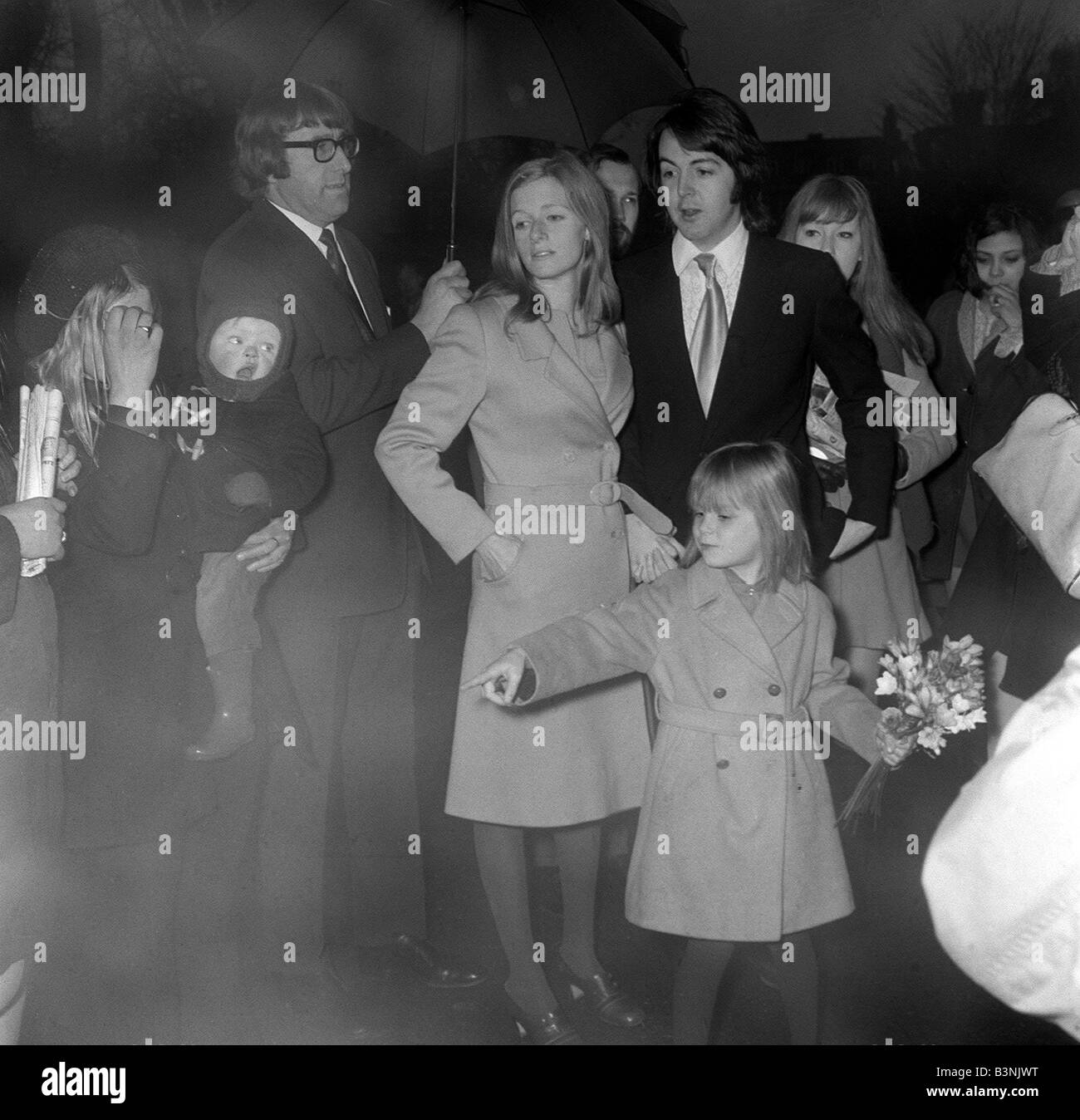 Paul McCartney Arrives With Wife Linda And Her Daughter Heather Aged 6 For Wedding Reception At