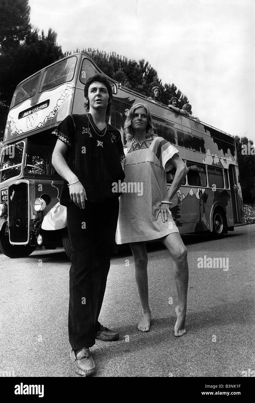 Paul McCartney Former Singer With The Beatles And Wife Linda On Tour In Their Psychedelic Bus July 1972