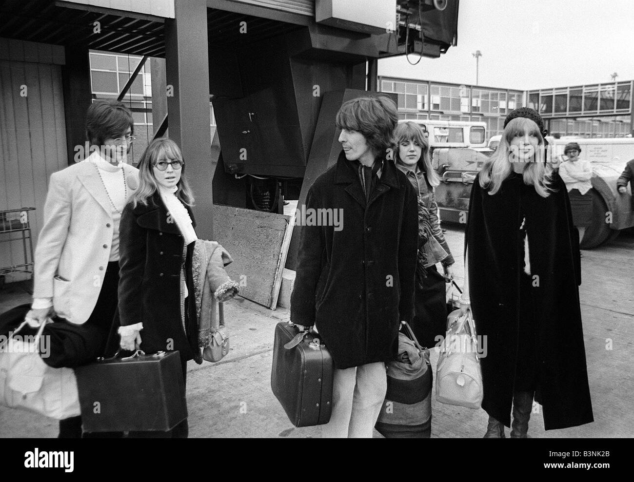 Beatles Singer Songwriter John Lennon With Wife Cynthia And George Harrison Off To India February 1968