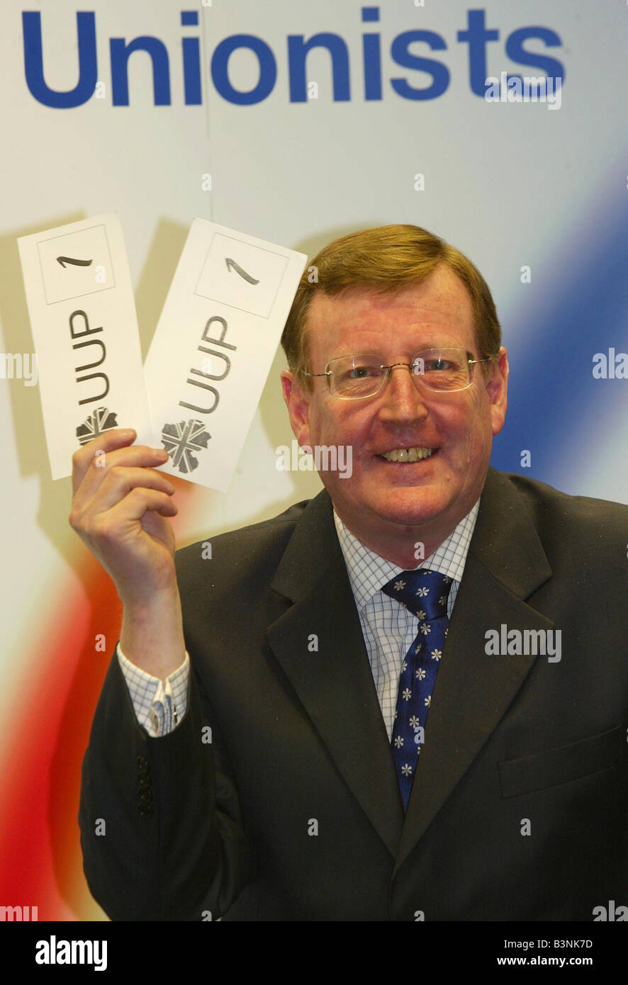 UUP Northern Ireland Assembly election campaign UUP Party leader David Trimble in victory mood for Election day - Stock Image