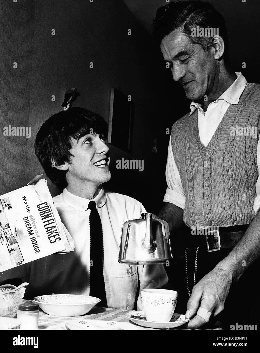 Beatles star George Harrison with his Dad at Home December 1963 - Stock Image