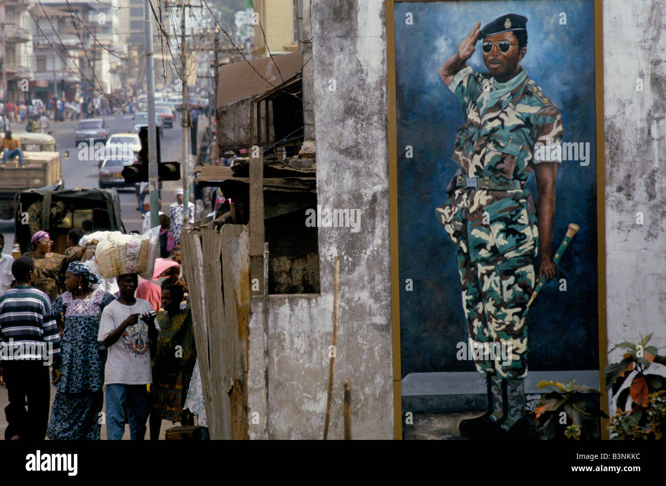 Street Scene With Mural Of Captain Valentine Strasser Leader Of The