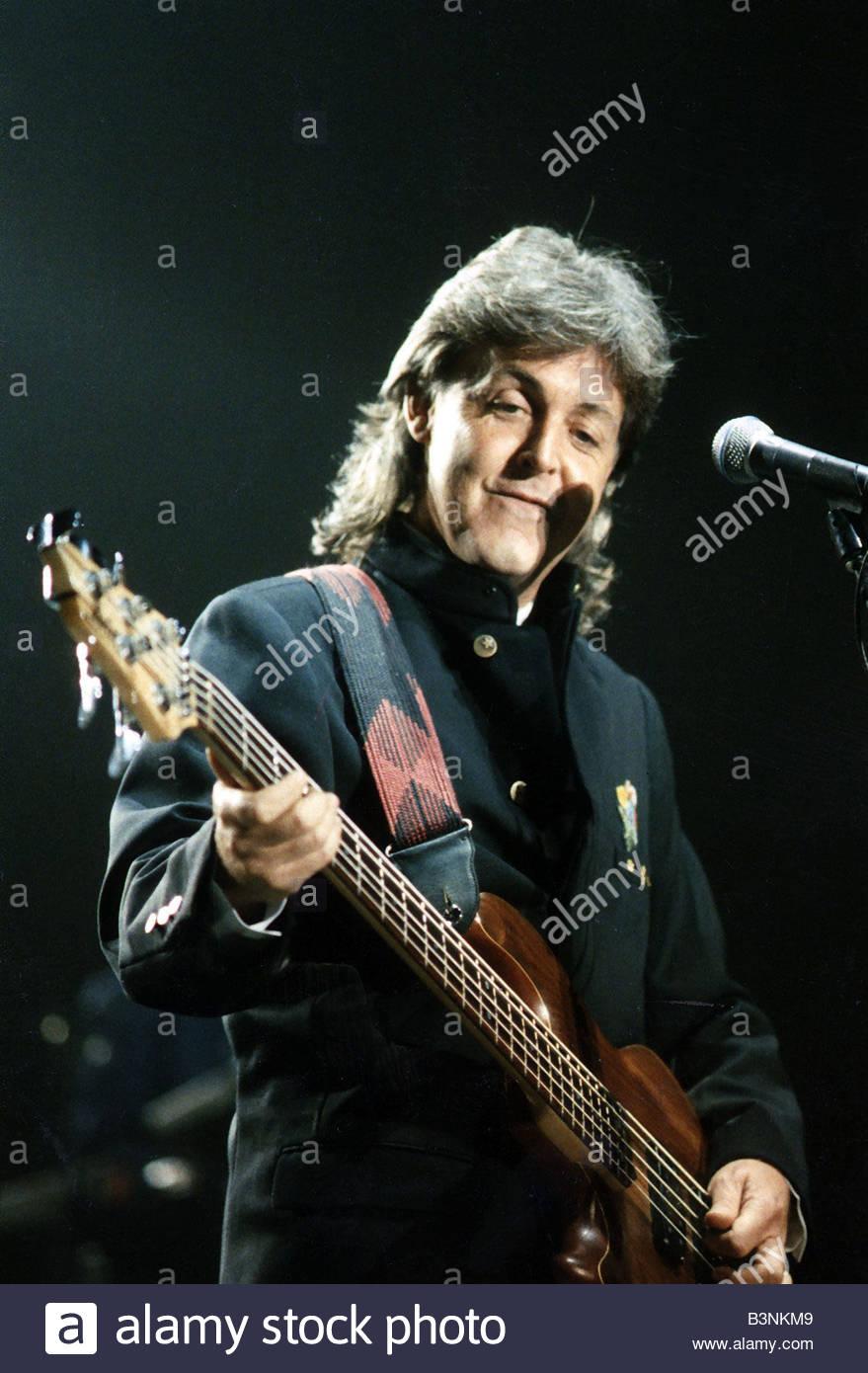 Paul McCartney Singer Former Members Of The Beatles Wings Singing Playing Bass Guitar In Concert September 1989
