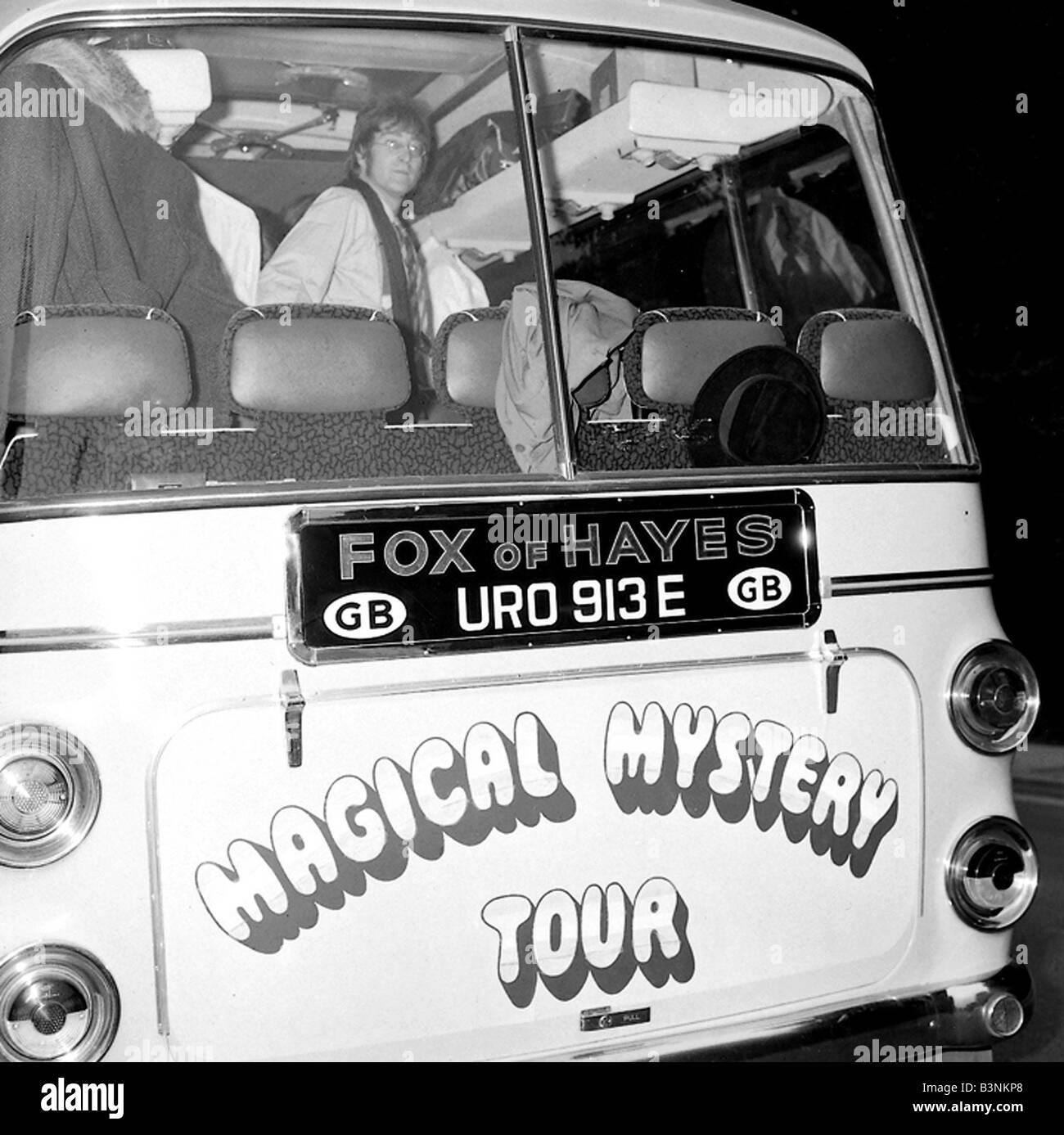Beatles Files 1967 John Lennon Aboard The Magical Mystery Tour Bus Stock Photo Alamy