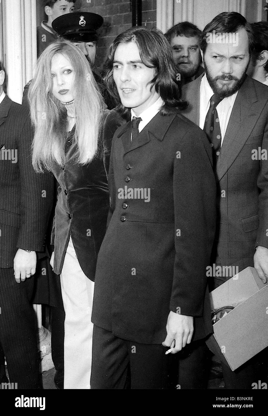 Beatles files 1969 George Harrison with wife Patti Boyd leaves Esher Walton magistrates court March 1969 - Stock Image