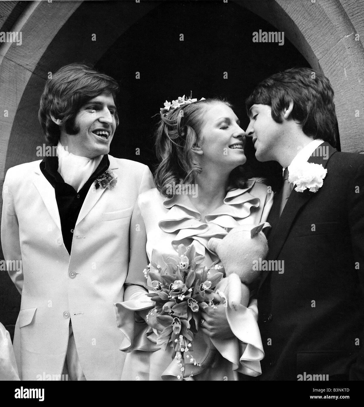 Beatles Files 1968 Paul McCartney Kisses His New Sister In Law Angela Fishwick Who Married Brother Mike Carrog North Wales June