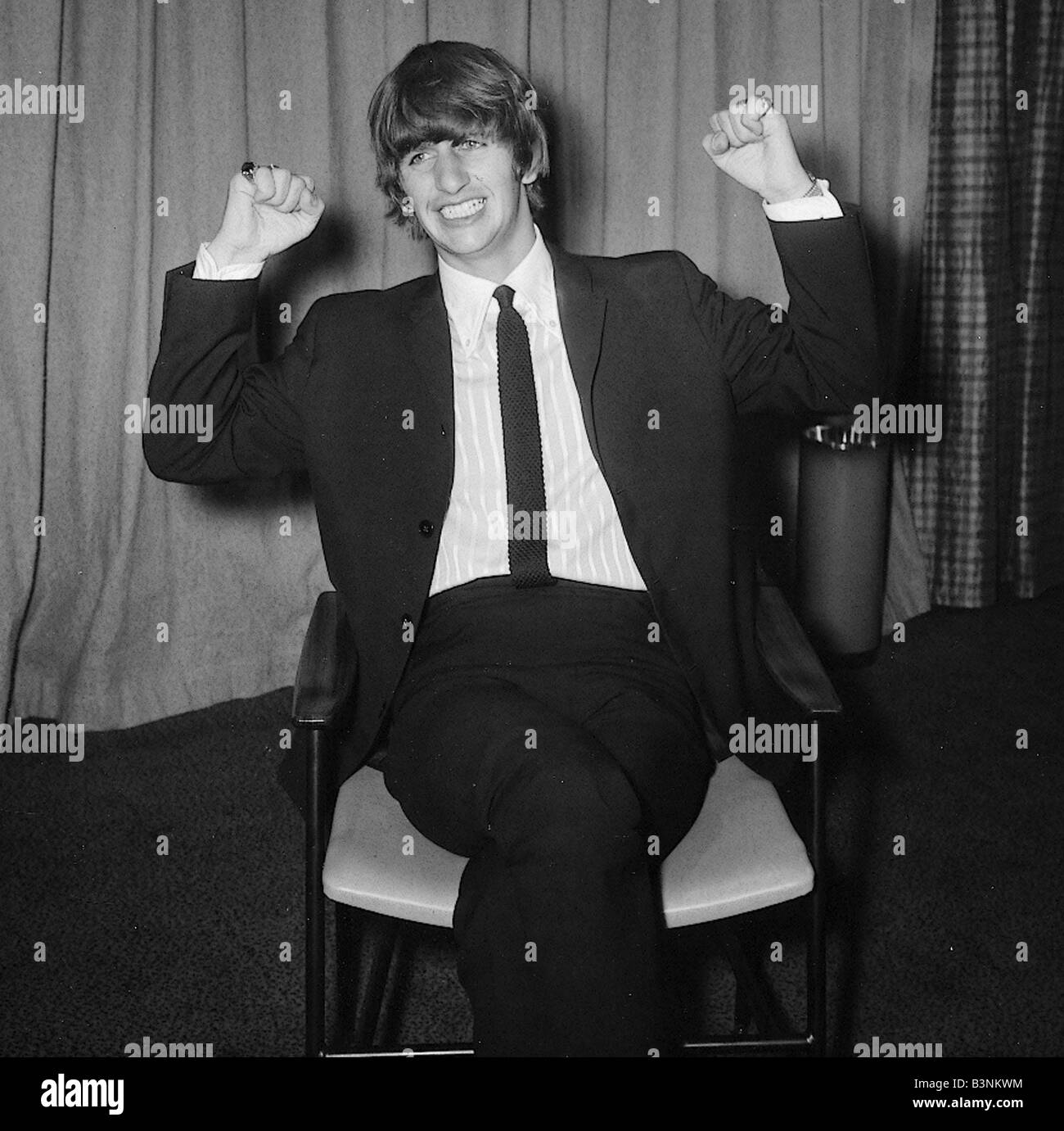 Beatles Files 1964 Ringo Starr Sitting On Chair Arms Raised February