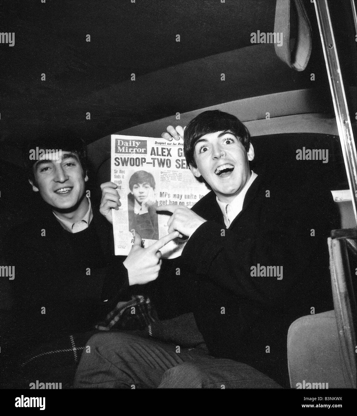 Beatles Files 1963 Paul McCartney John Lennon With A Copy Of The Daily Mirror Newspaper In Back Car
