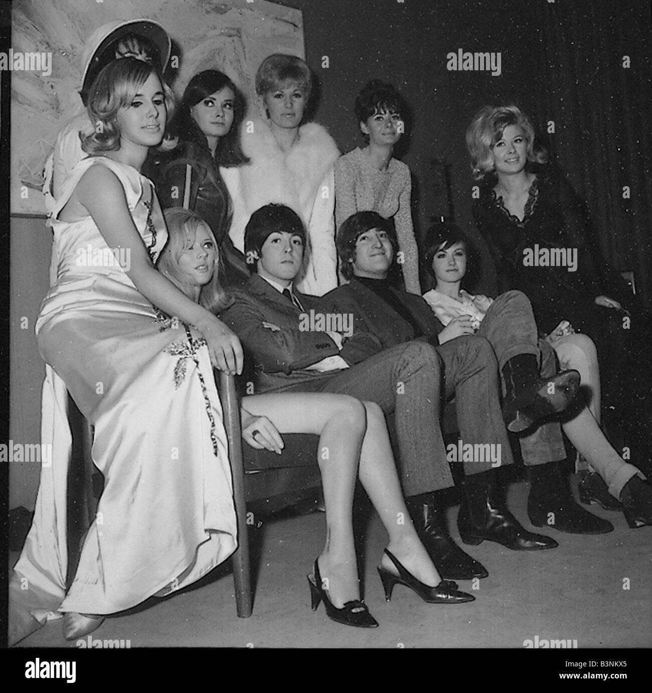 Beatles 1965 John Lennonand Paul Mccartney With Showgirls