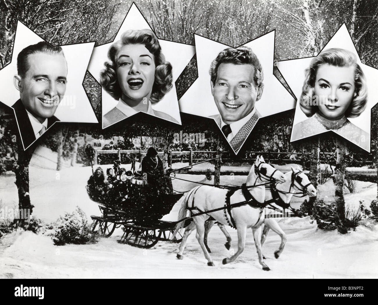 WHITE CHRISTMAS 1954 Paramount film with from left Bing Crosby, Rosemary  Clooney, Danny Kaye