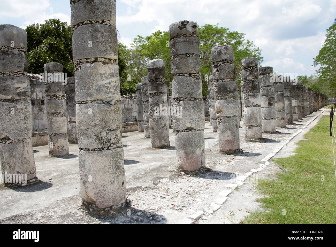 Western Colonnade, Chichen Itza Archaeological Site, Chichen Itza, Yucatan Peninsula, Mexico Stock Photo