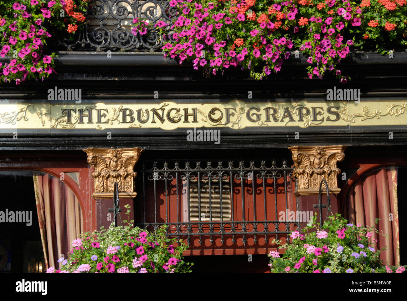 Exterior of the Bunch of Grapes pub in Brompton Road Kensington London England - Stock Image